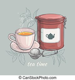 cup of tea with round tin packaging and tea-strainer -...