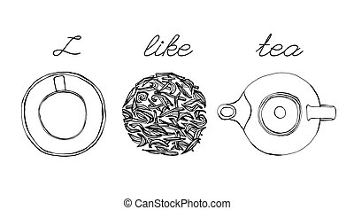 Tea and Honey - Tea time image. Hand drawn artistic vector...