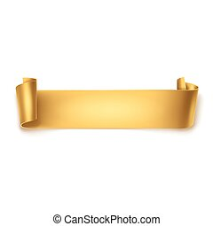 Gold Ribbon - Gold detailed curved ribbon isolated on white...