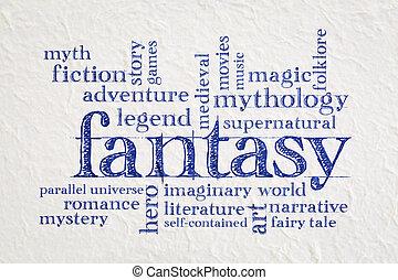 fantasi, ord, moln