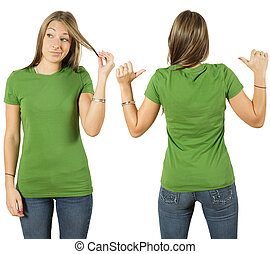 Female with blank green shirt - Young beautiful female with...