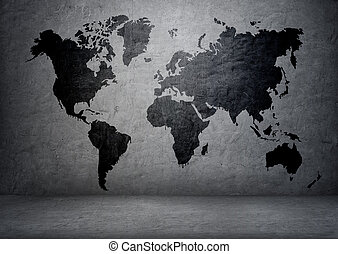 Black-colored world map on concrete wall Continents and...