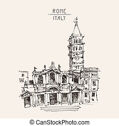 freehand sketch drawing Rome Italy cityscape for your travel...