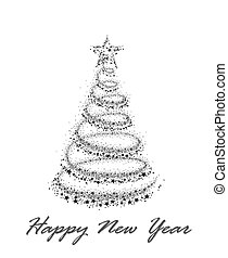 Card with New Year tree.