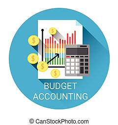 Budget Accounting Business Economy Icon Flat Vector...