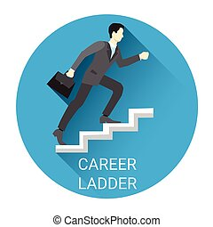 Business Man Moving Up Career Ladder Icon Flat Vector...