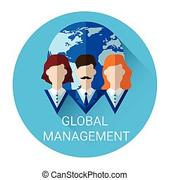 Global Management Business Outsource Employment Icon Flat...