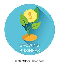 Strategy Growing Business Tree Economy Icon Flat Vector...