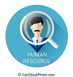 Human Resource Magnifying Glass Picking Business Person...