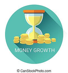 Money Growth Business Economy Icon Flat Vector Illustration