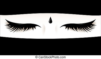 Muslim womans closed eyes Face covered with a niqab -face...