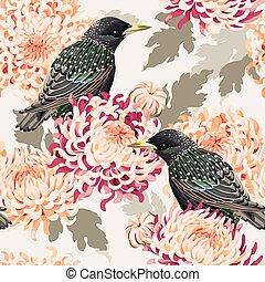 Seamless chrysanthemum and birds - Japanese chrysanthemum...