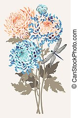 Bouquet of chrysanthemums - Vector illustration of bouquet...