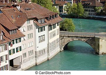 View the old city of Berne on bridge in Switzerland -...
