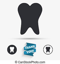 Tooth sign icon. Dental care symbol. Flat icons. Buttons...