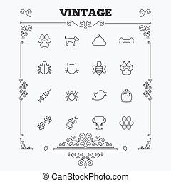 Pets and Insect icon. Dog, Cat paw with clutches - Pets and...