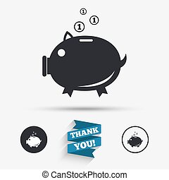Piggy bank sign icon Moneybox symbol Flat icons Buttons with...