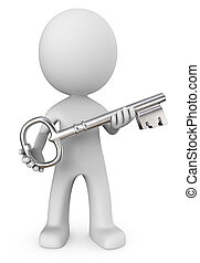 The Key. - Dude 3D character holding Large Metal Key. Front...