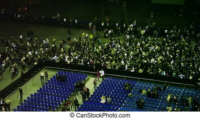 People leave after performance concert hall