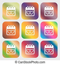 Calendar, heart, Valentines day, February 14, Love sign icon