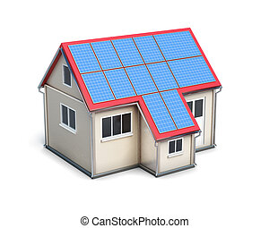 House with solar batteries on the roof isolated on white...