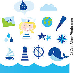 Nautic and Adventure icons - Stylized ocean icon set Smiling...