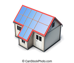 House with solar batteries on the roof on white background....
