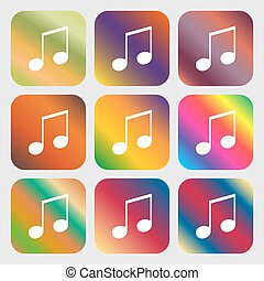 musical note, music, ringtone icon. Nine buttons with bright...