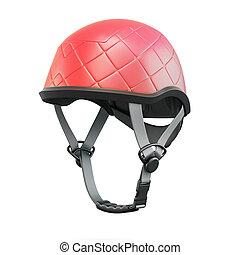 Red helmet. 3d rendering. - Red helmet isolated on white...
