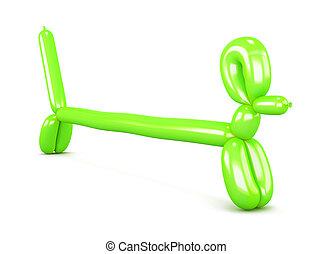 狗, 達克斯獵狗,  balloon,  rendering, 小雕像, 綠色,  3D