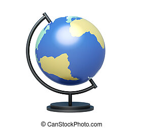 Globe on stand isolated on white background 3d rendering