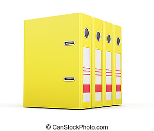 Office folders standing in a row Yellow ring binders 3d...