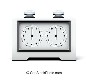 Chess clock front view on white background 3d rendering