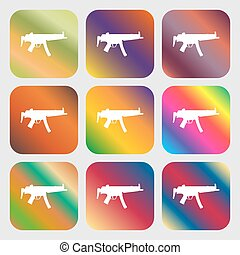 machine gun icon. Nine buttons with bright gradients for...