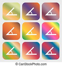 Angle 45 degrees icon sign . Nine buttons with bright...