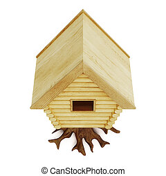 Fabulous hut top view isolated on a white background. 3d...
