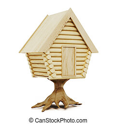 Wooden fairy house isolated on a white background. 3d...