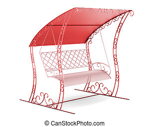 Garden swing with canopy isolated on white background. 3d...