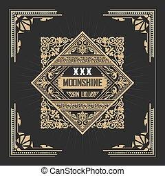 Moonshine label with old frame design