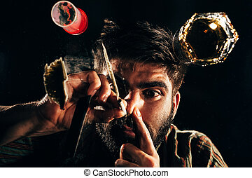 Man sniffing a line of cocaine