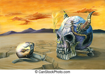 Egg and Skull Painting - Oil painting of an egg reflecting...