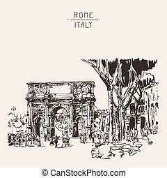 sketch digital sepia drawing Rome Italy landmark - original...