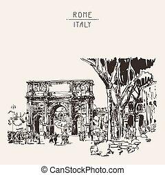 sketch digital sepia drawing Rome Italy landmark - original...