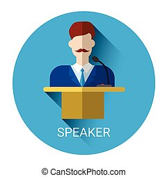 Business Man Speaker Standing Over Tribune Icon Flat Vector...