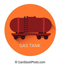 Gas Tank Icon Orange Flat Vector Illustration