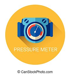 Pressure Meter Icon Flat Vector Illustration