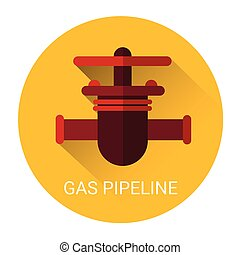 Gas Pipeline Icon Flat Vector Illustration
