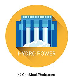 Hydro Power Station Icon Flat Vector Illustration
