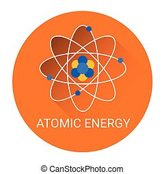 Atomic Energy Icon Flat Colorful Vector Illustration