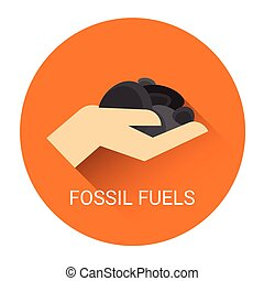 Fossil Fuels Icon - Fossil Fuels Hand Icon Flat Vector...